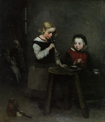 Children Blowing Bubbles by Theodule Augustine Ribot