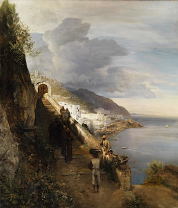 The Amalfi Coast with the Stairs to Capuchin Monastery by Oswald Achenbach