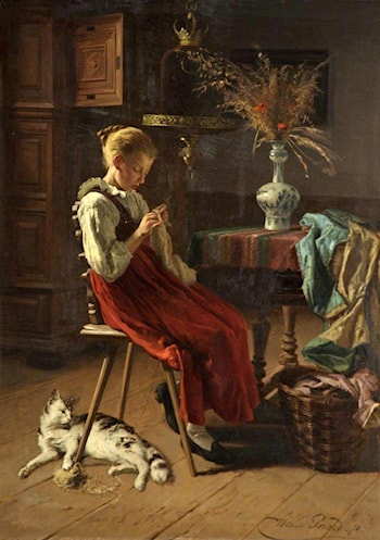 A Girl Knitting by Theodore Gerard