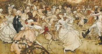 The Dance in Cupid's Alley by Arthur Rackham