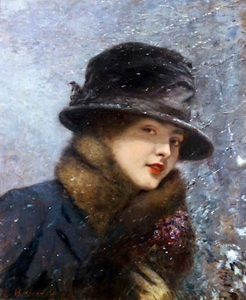 Young Woman with a Bouquet of Violets in the Snow by Henri Gervex