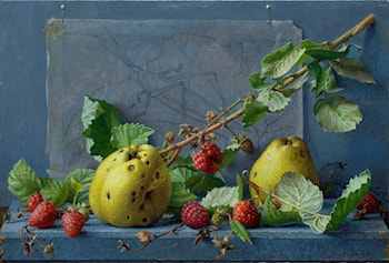 Raspberries, pears and grasshopper by Joke Frima