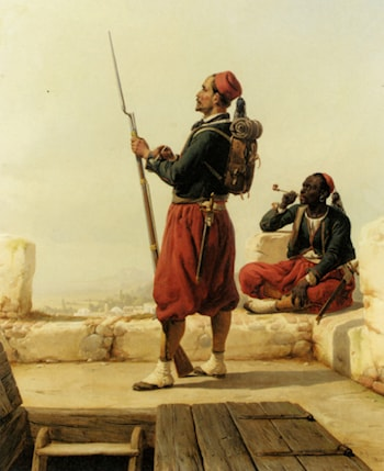 A Nubian and an Egyptian Guard in a Lookout Tower by Niels Simonsen