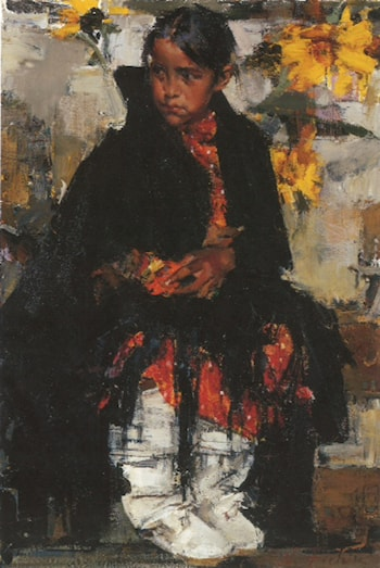 The Girl From Taos Sunflower by Nicolai Fechin