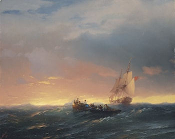 Vessels in a Swell at Sunset by Ivan Constantinovich Ayvazovsky