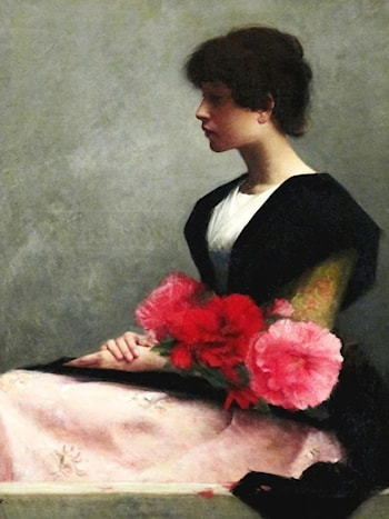 Young Woman with Flowers by Alfred-Pierre Agache