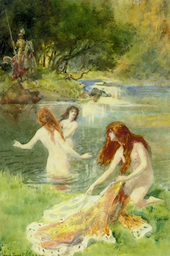 Bathing maidens surprised by a knight by Innes Fripp