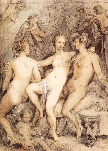 Venus between Ceres and Bacchus by Hendrick Goltzius