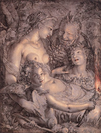 Without Ceres and Bacchus, Venus would Freeze by Hendrick Goltzius