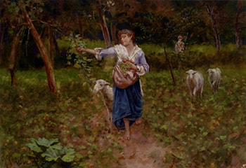 A Shepherdess In A Pastoral Landscape by Francesco Paolo Michetti