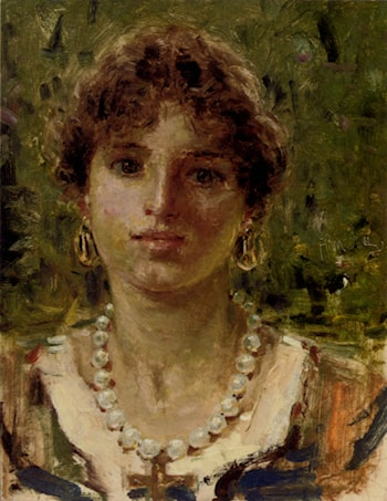 Portrait Of A Girl Wearing A Pearl Necklace by Francesco Paolo Michetti