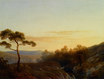 Early Morning in a Mountainous Landscape by Josephus Augustus Knip