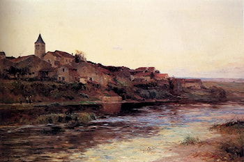 A French River Town by Edmond Marie Petitjean