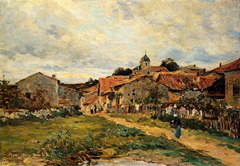 The Village Road by Edmond Marie Petitjean