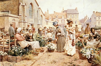 Flower Market in a French Town by Alfred Glendening