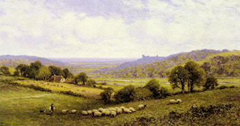 Near Amberley, Sussex, with Arundel Castle in the Distance by Alfred Augustus Glendening