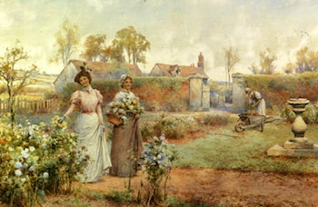 A Lady And Her Maid Picking Chrysanthemums by Alfred Glendening