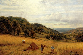Harvesting At Luccombe, Isle Of Wight by Alfred Augustus Glendening