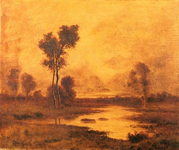 A River Landscape by Leon Richet