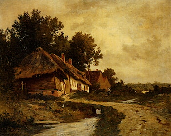 Cottages By A Stream by Leon Richet