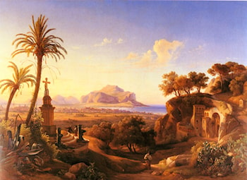 Figures before a Shrine with a view of Palermo beyond by Johann George Gmelin