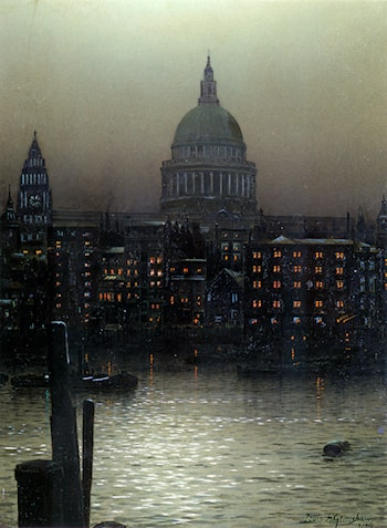 St. Paul's Cathedral from Bankside by Louis H. Grimshaw