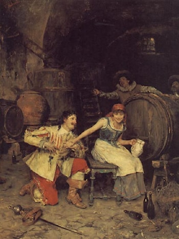 Flirtation in the Wine Cellar by Federico Andreotti