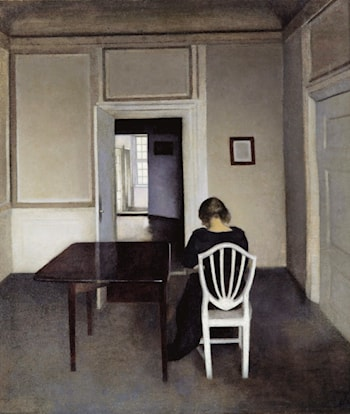 Interior with Ida in a White Chair by Vilhelm Hammershoi