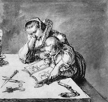 Woman and Child looking at a Picture Book by Jacob de Gheyn II