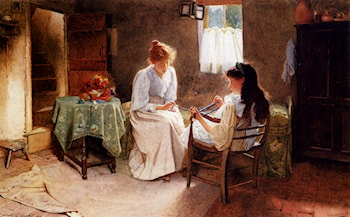 Two Girls In An Interior Winding A Skein Of Wool by Carlton Alfred Smith