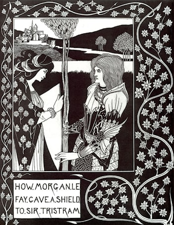 How Morgan Le Fay Gave a Shield to Sir Tristram by Aubrey Beardsley