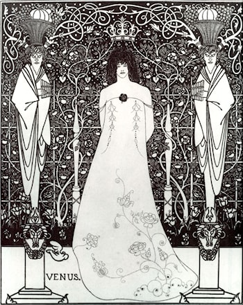 Venus between Terminal Gods by Aubrey Beardsley