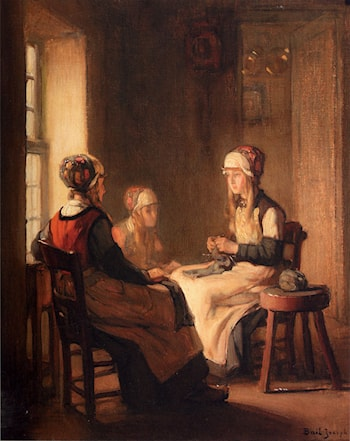 A Interior With Marken Girls Knitting by Claude Joseph Bail