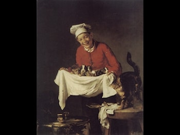 A Boy with Dogs and Kittens by Claude Joseph Bail