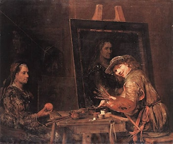 Self­Portrait at an Easel Painting an Old Woman by Aert de Gelder