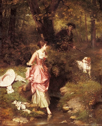 A Young Beauty Crossing a Brook with a Hunter Beyond by Emile Pierre Metzmacher