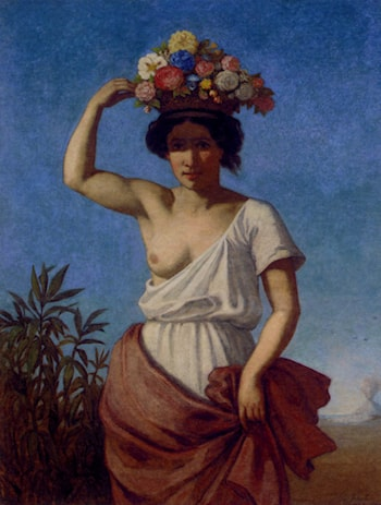 A Pompeiian Beauty Carrying Fruit by August Jernberg