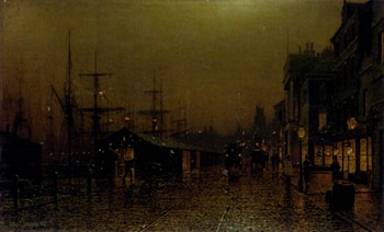 Dockside scene by Arthur E. Grimshaw
