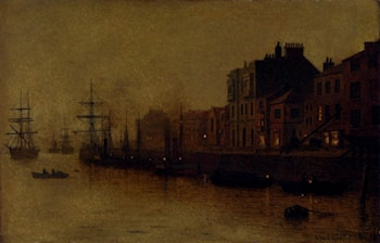 A fishing harbour by Arthur E. Grimshaw