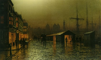 Hull Docks by Night by Arthur E. Grimshaw