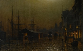 Dock Scene in Glasgow by Arthur E. Grimshaw