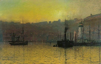Nightfall in Scarborough Harbour, North Yorkshire by John Atkinson Grimshaw