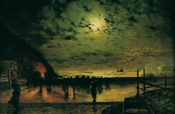 'Burning Off', a Fishing Boat at Scarborough by John Atkinson Grimshaw