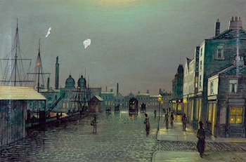 Evening Scene by the Docks, Hull by John Atkinson Grimshaw