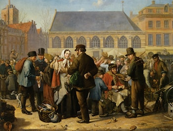Many Figures on the Nieuwe Markt in Rotterdam by Jacob Akkersdijk