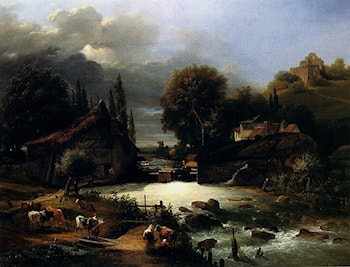 A Farm On A River by Guillaume Frederic Ronmy