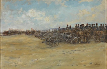 Royal Horse Artillery and Lancers, Waiting to Move Off by Edward Matthew Hale