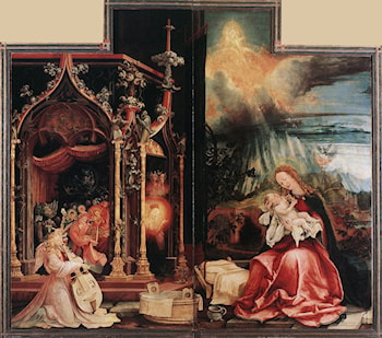 Concert of Angels and Nativity by Matthias Grunewald