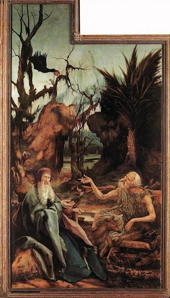 Saints Paul and Antony in the Desert by Matthias Grunewald