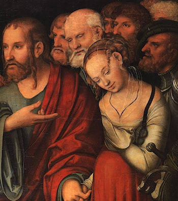 Christ and the Fallen Woman by Lucas Cranach the Younger